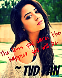 """The less you care, the happier you will be."" ♥"