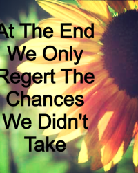 At The End We Only Regert The Chances We Didn't Take