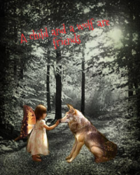 A child and a wolf are friends