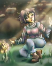Frisk and Flowey Fanart Compilation-- Press Start to Join Competition
