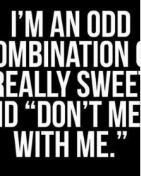 I'm a odd combination of really sweet and don't mess with me
