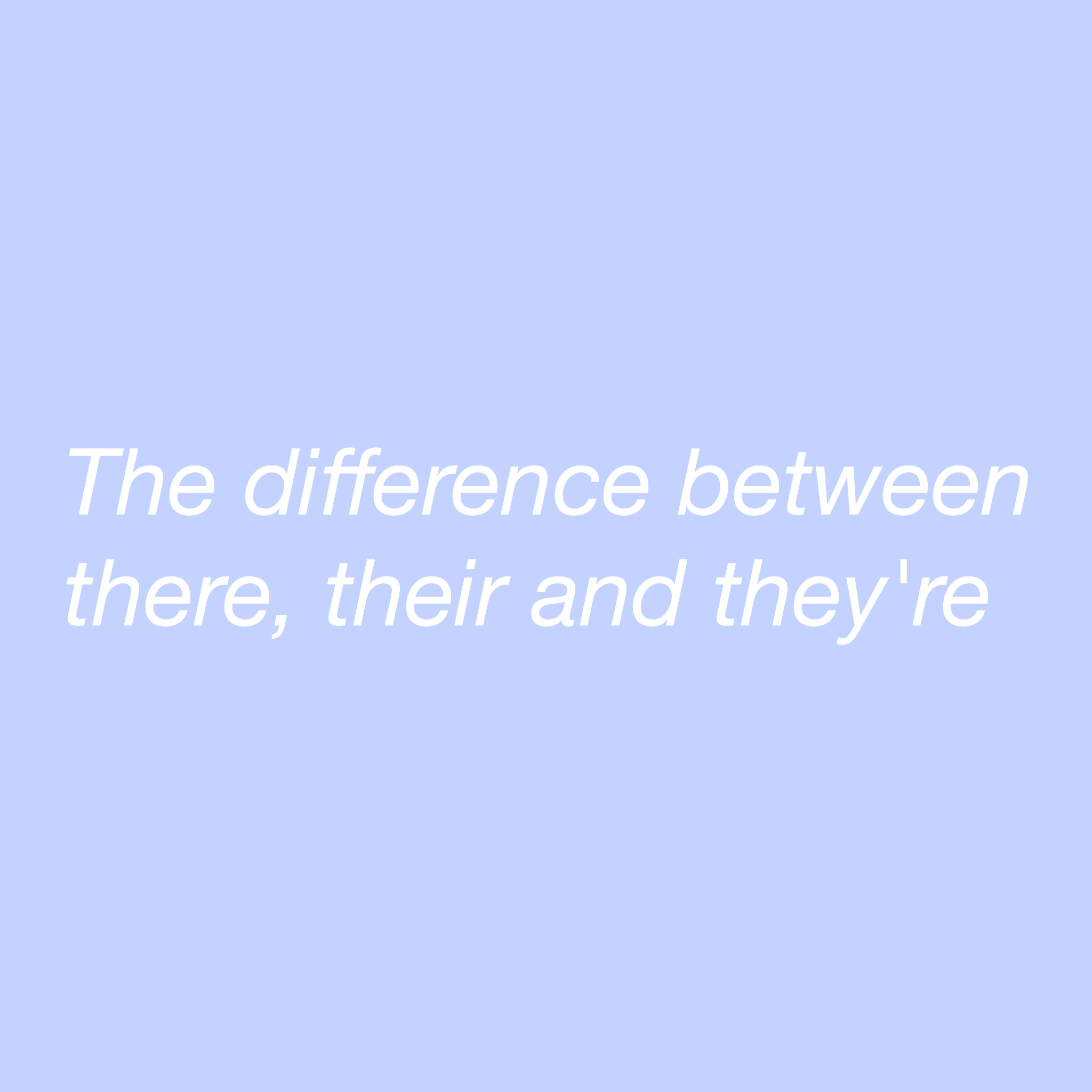 The difference between there, their and they're
