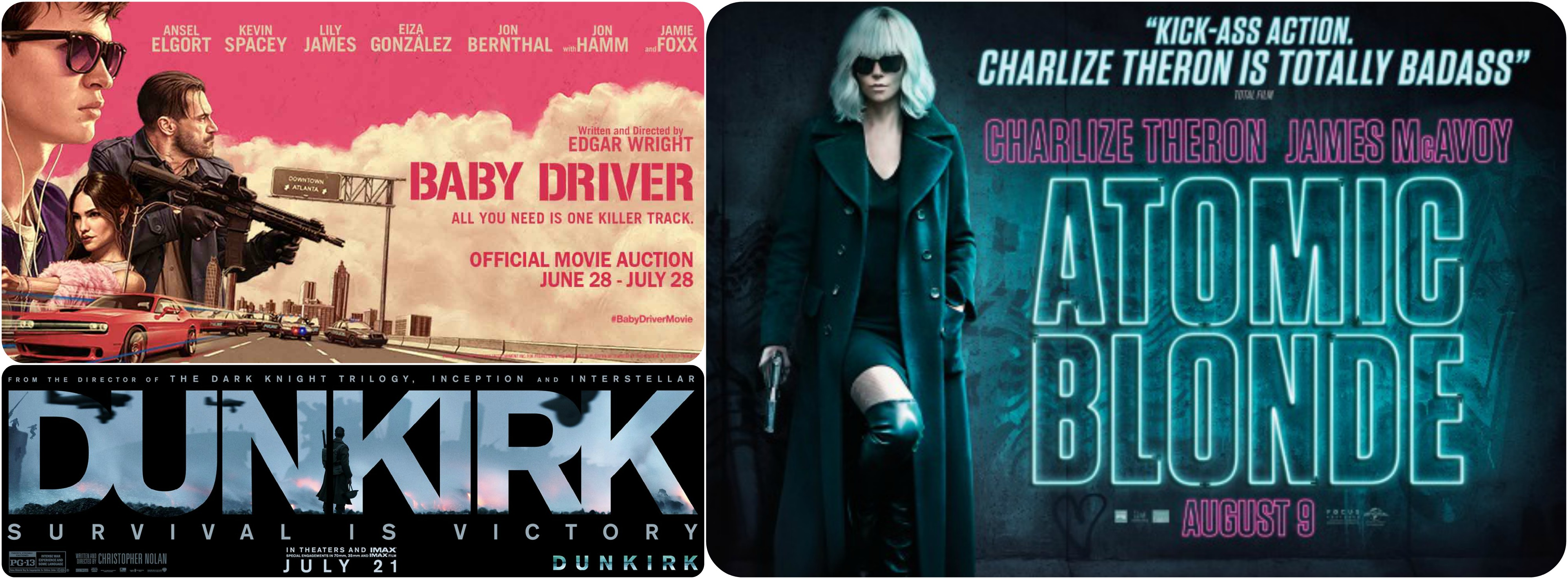 3x Reviews (Dunkirk, Atomic Blonde, Baby Driver)