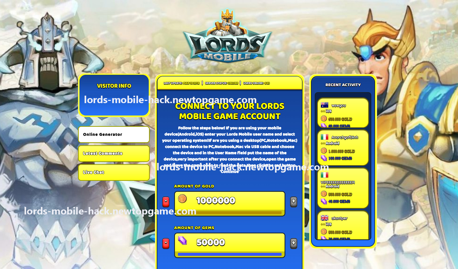Lords Mobile Hack Gold and Gems Generator No Survey Working 2018