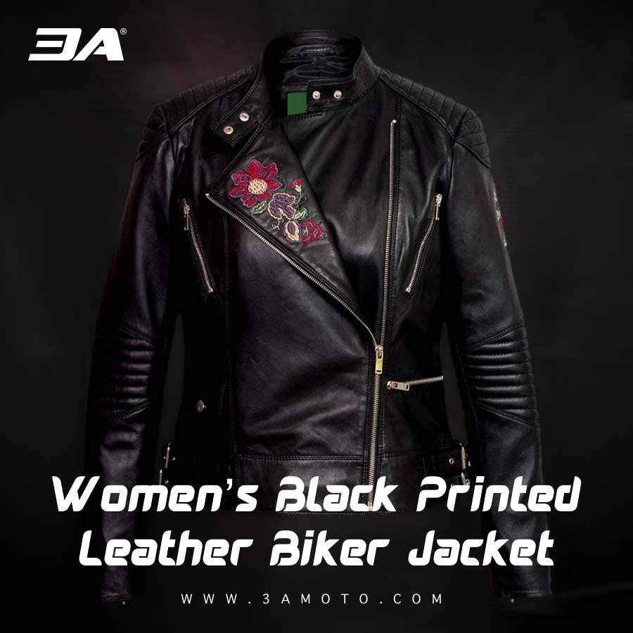 Buy Women's Black Printed Leather Biker Jacket