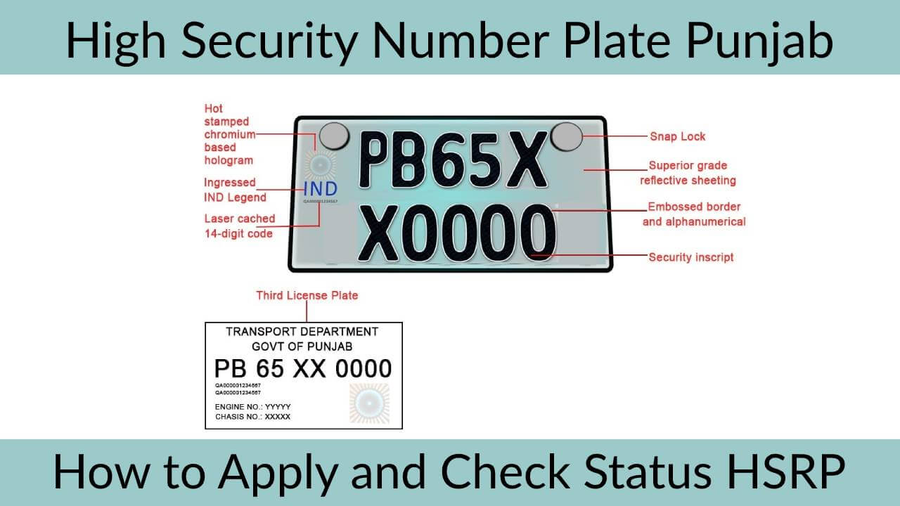 Punjab HSRP High Security Number Plate and Status Check