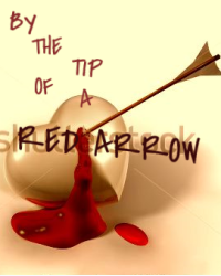 By the tip of a red arrow